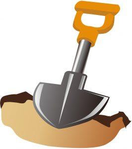 敷石を敷き詰める場所に穴を掘ります